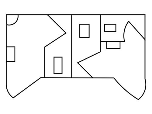 Plan d'un bungalow GLF, votre fournisseur de sanitaires mobiles à louer pour vos évènements